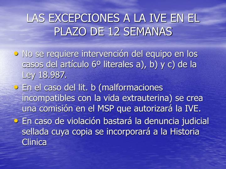 LAS EXCEPCIONES A LA IVE EN EL PLAZO DE 12 SEMANAS
