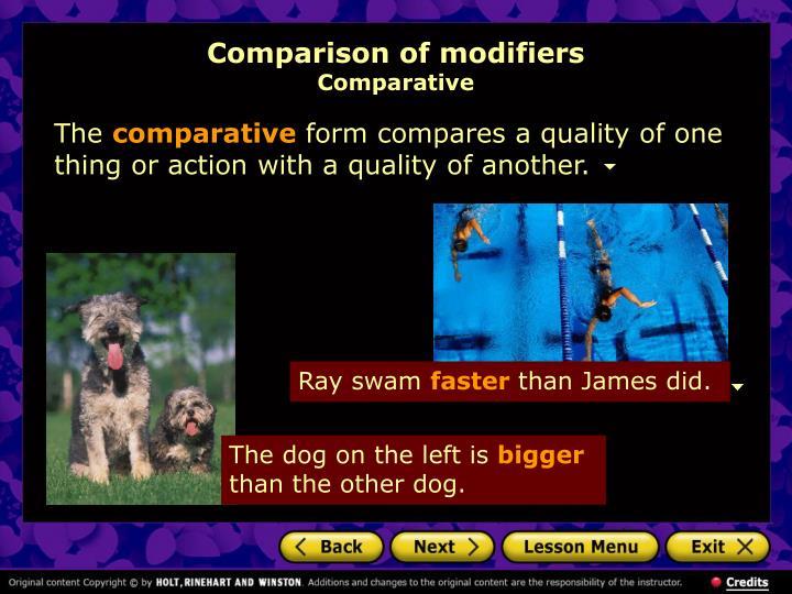 Comparison of modifiers