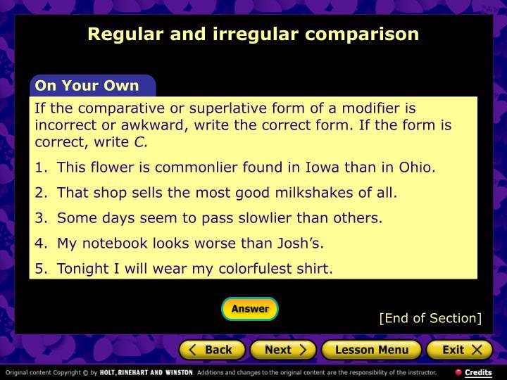 Regular and irregular comparison