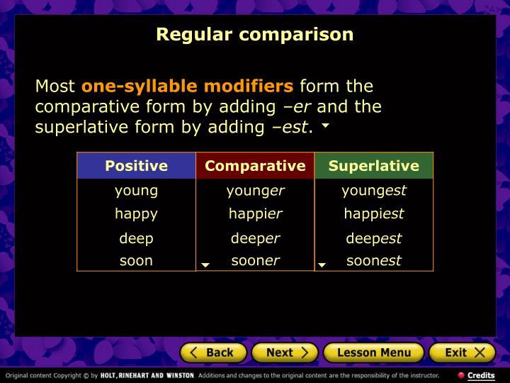 Regular comparison