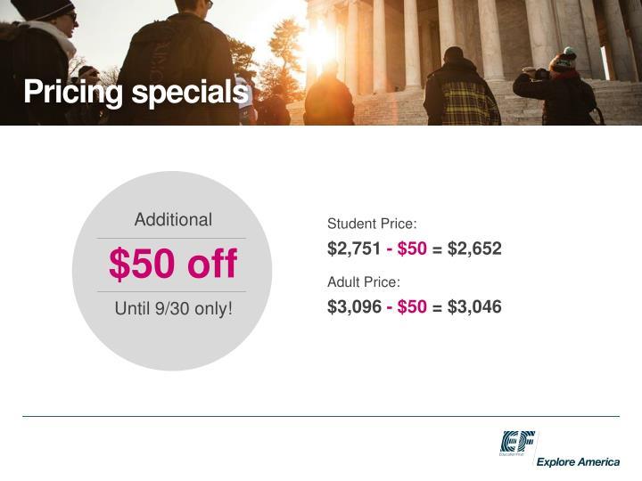 Pricing specials