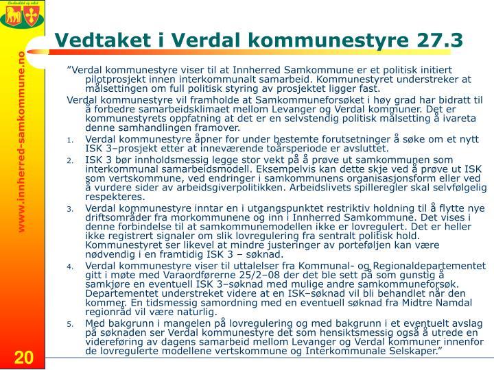 Vedtaket i Verdal kommunestyre 27.3