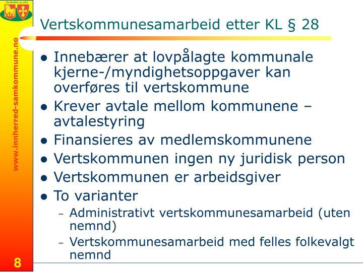 Vertskommunesamarbeid etter KL § 28