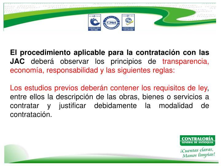 El procedimiento aplicable para la contratación con las JAC