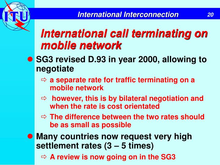 International call terminating on mobile network