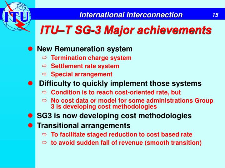 ITU–T SG-3 Major achievements