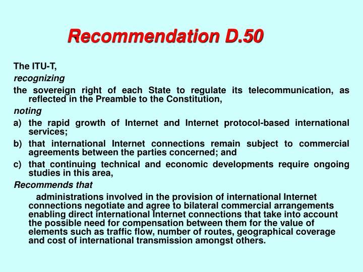 Recommendation D.50