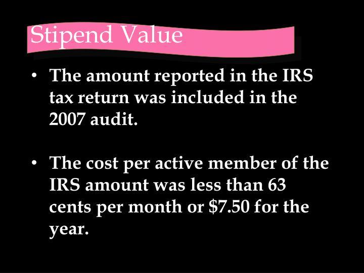 Stipend Value