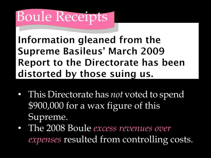 Information gleaned from the Supreme Basileus' March 2009 Report to the Directorate has been distorted by those suing us.
