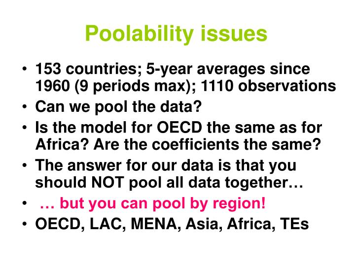 Poolability issues