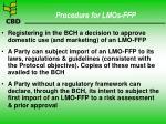 procedure for lmos ffp