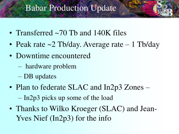 Babar Production Update