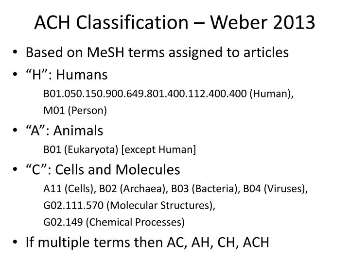 ACH Classification – Weber 2013