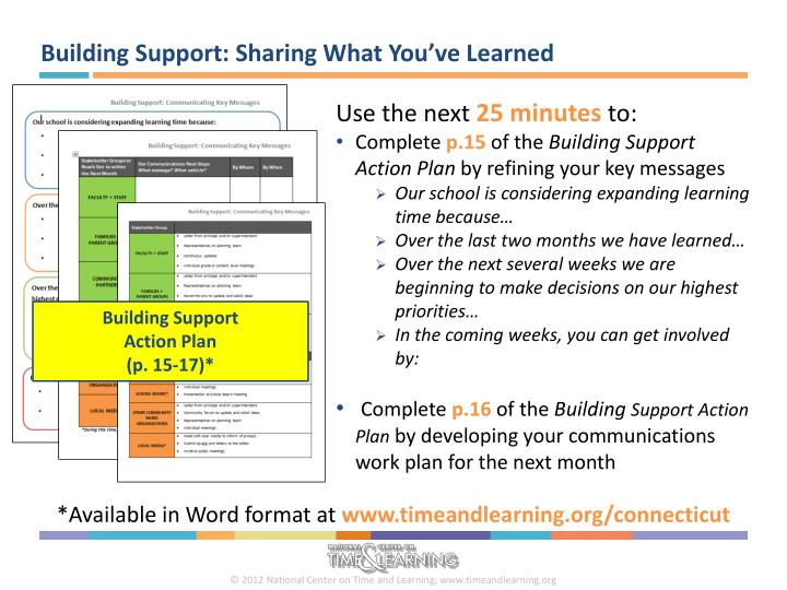 Building Support: Sharing What You've Learned