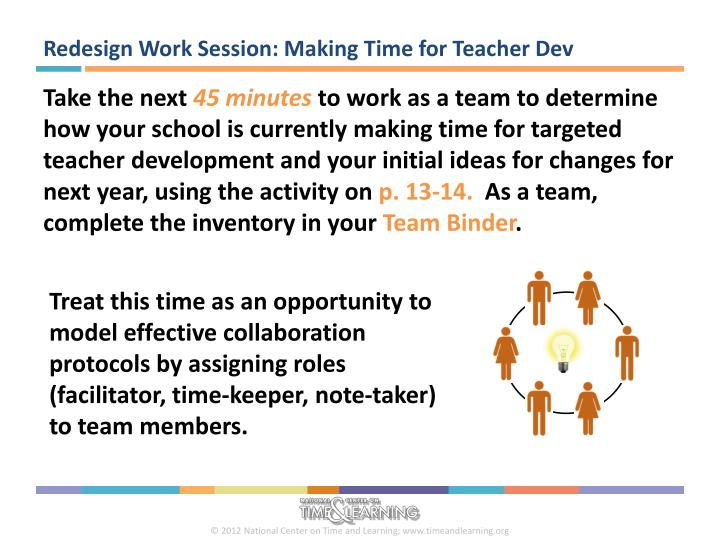 Redesign Work Session: Making Time for Teacher Dev