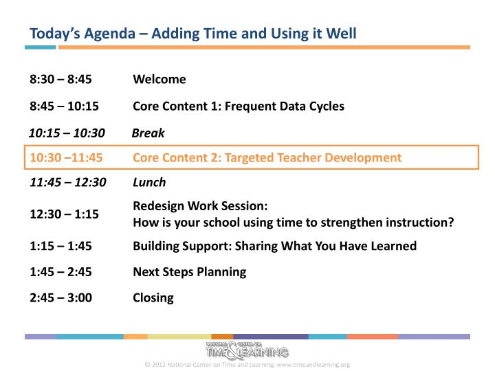 Today's Agenda – Adding Time and Using it Well