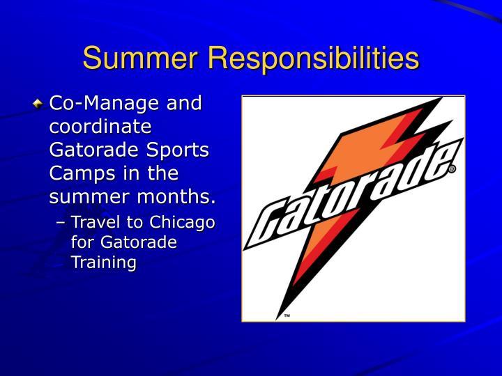 Summer Responsibilities