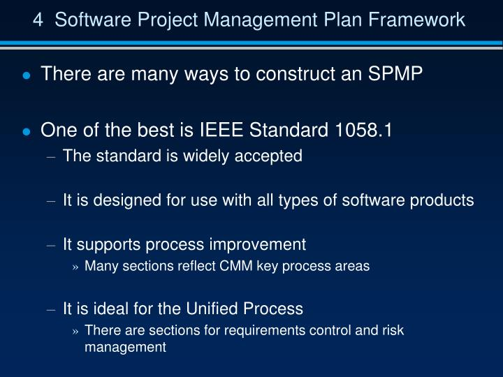 4  Software Project Management Plan Framework