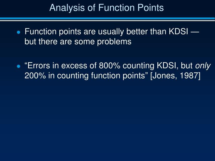 Analysis of Function Points