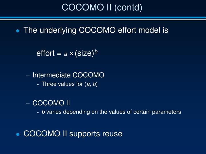 COCOMO II (contd)