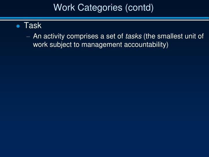 Work Categories (contd)