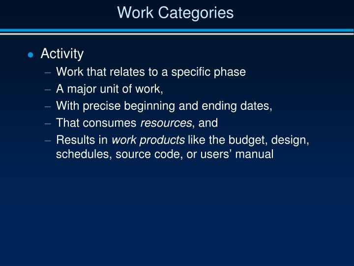 Work Categories