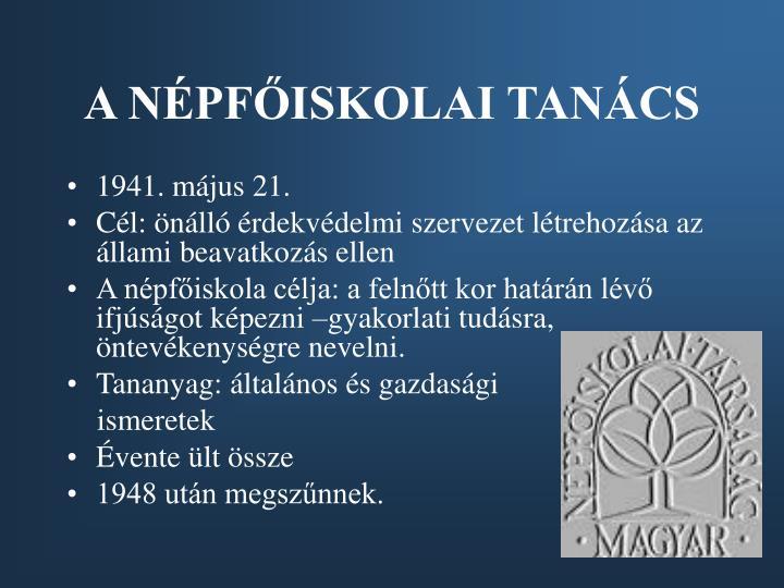 A NÉPFŐISKOLAI TANÁCS