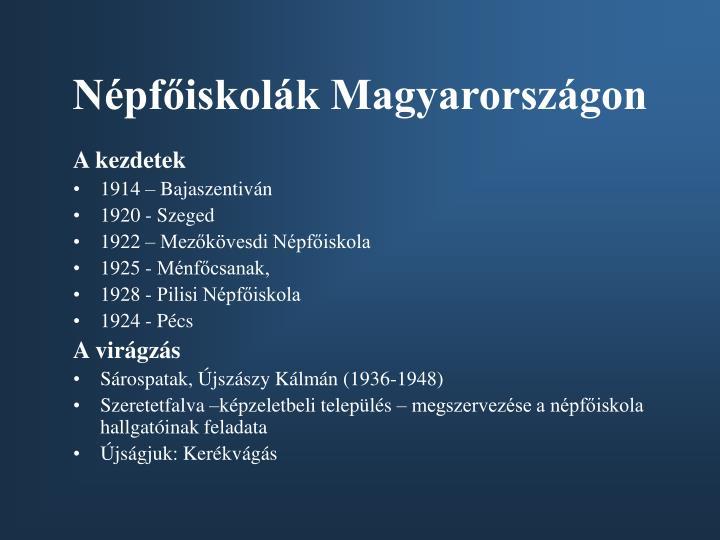Népfőiskolák Magyarországon