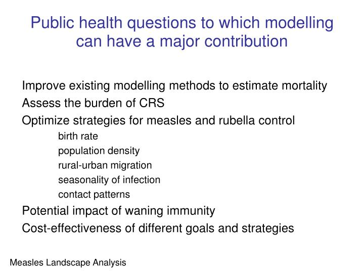 Public health questions to which modelling can have a major contribution