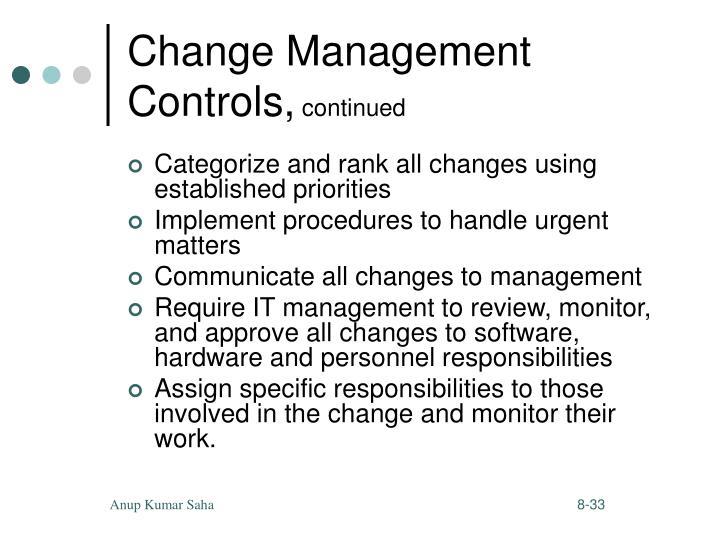 Change Management Controls,