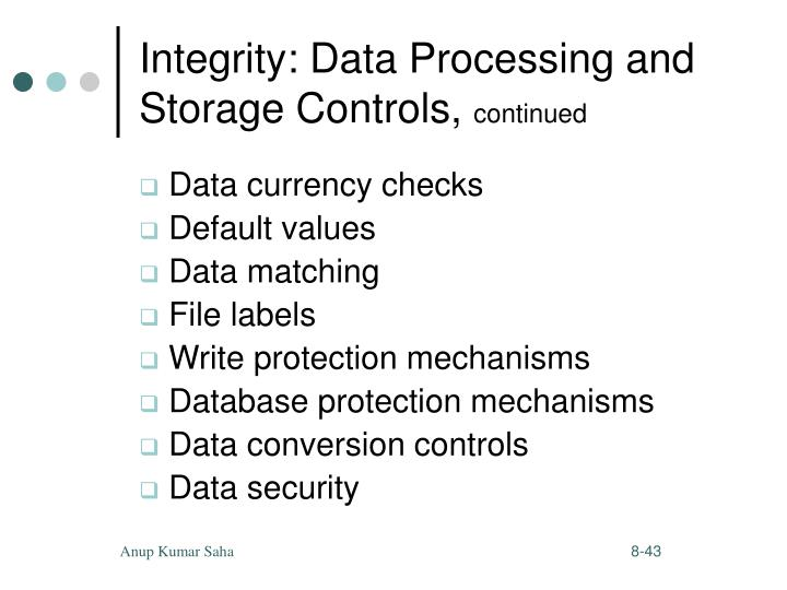 Integrity: Data Processing and Storage Controls,