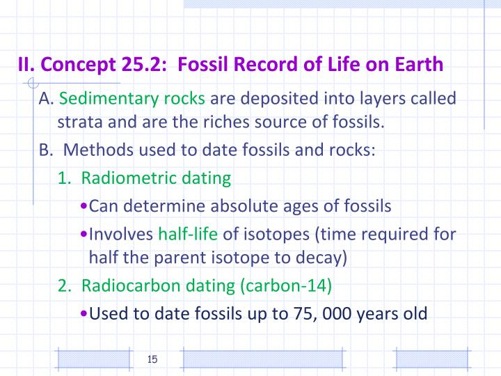 II. Concept 25.2:  Fossil Record of Life on Earth