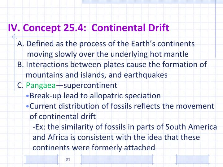 IV. Concept 25.4:  Continental Drift