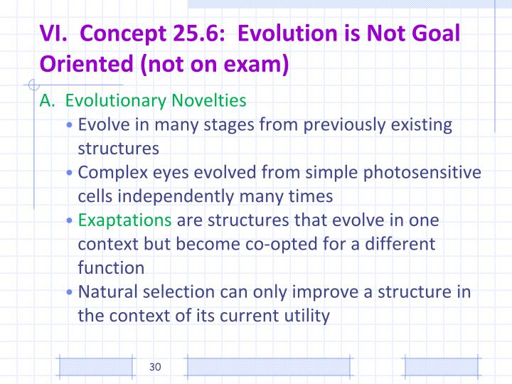 VI.  Concept 25.6:  Evolution is Not Goal