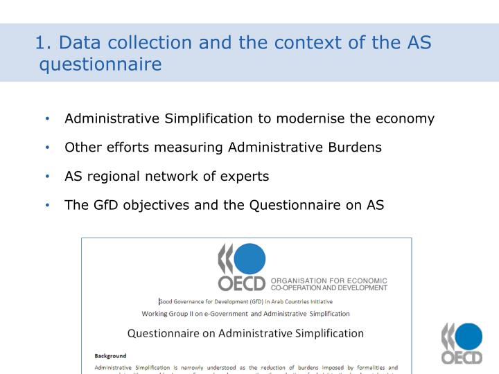 1. Data collection and the context of the AS questionnaire