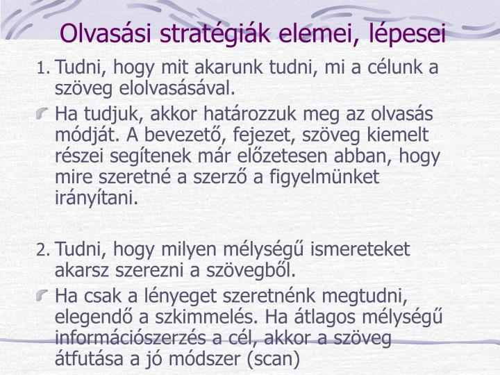 Olvasási stratégiák elemei, lépesei