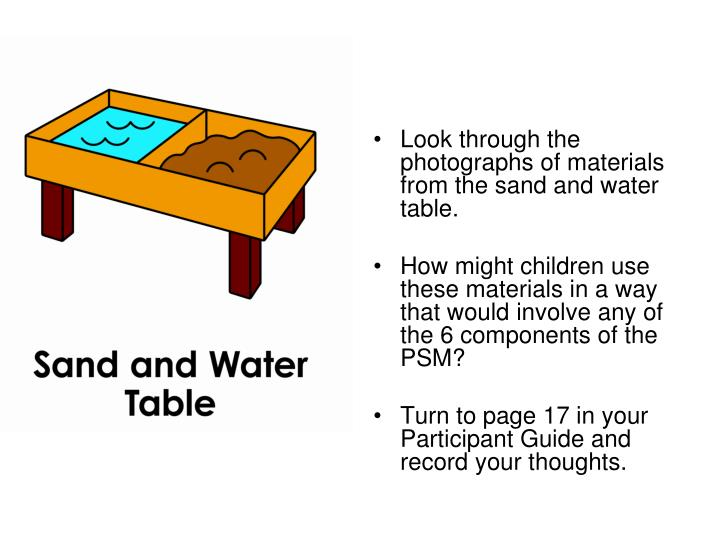 Look through the photographs of materials from the sand and water table.