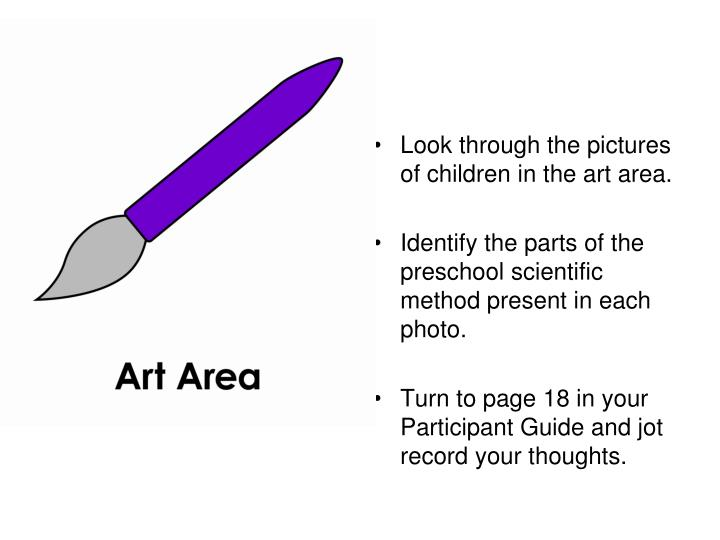 Look through the pictures of children in the art area.