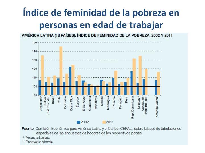 Índice de feminidad de la pobreza en personas en edad de trabajar