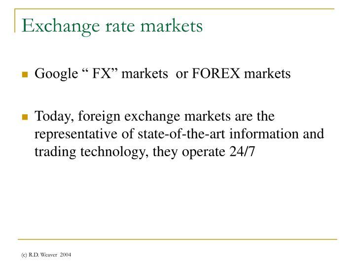 Exchange rate markets