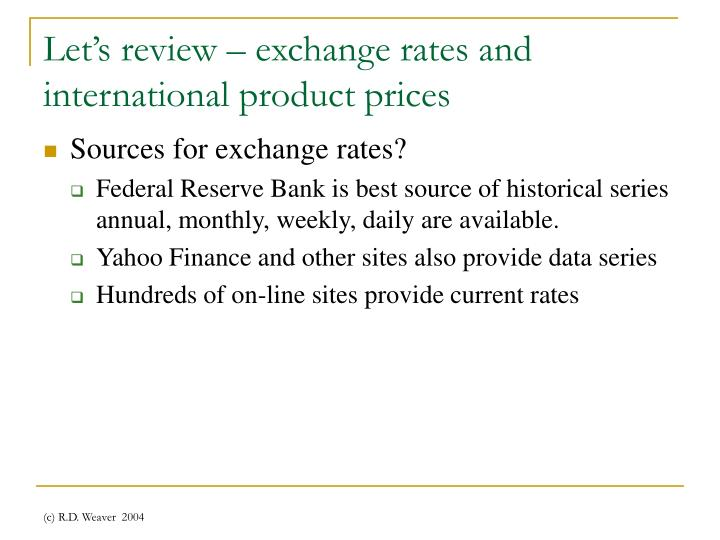 Let's review – exchange rates and international product prices