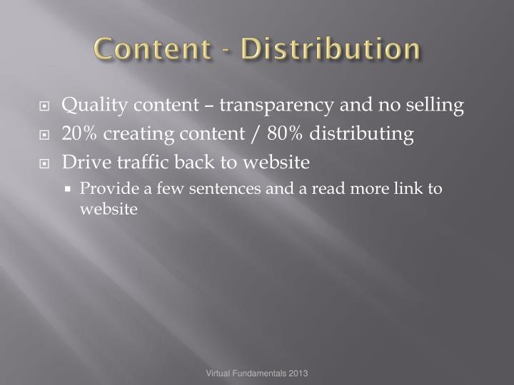 Content - Distribution