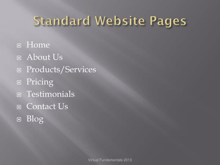 Standard Website Pages