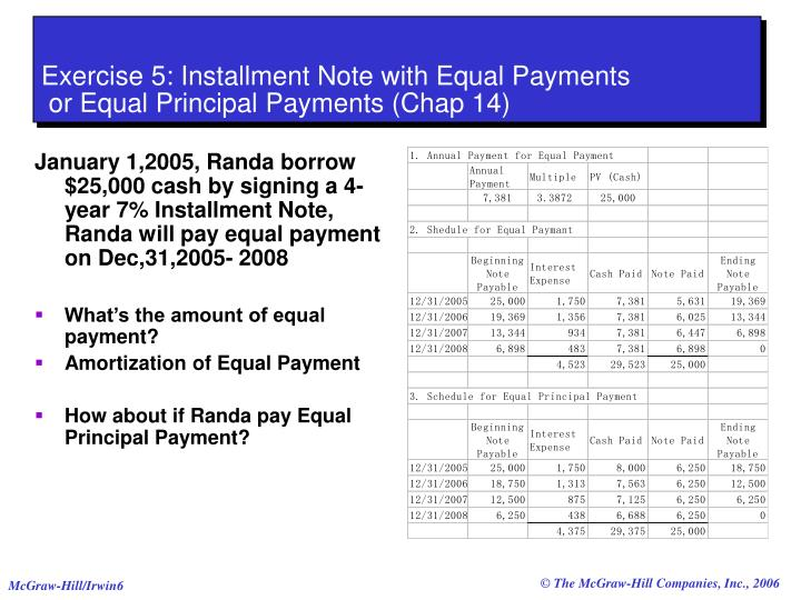 Exercise 5: Installment Note with Equal Payments