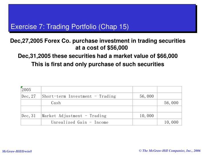 Exercise 7: Trading Portfolio (Chap 15)