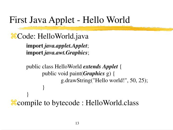 First Java Applet - Hello World