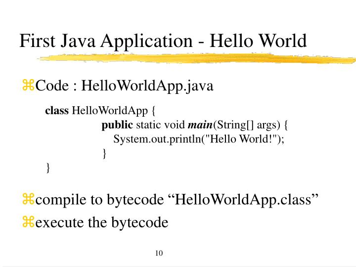 First Java Application - Hello World