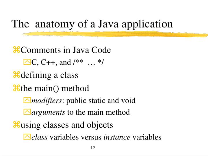 The  anatomy of a Java application