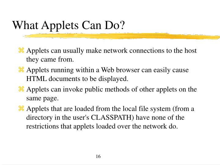 What Applets Can Do?