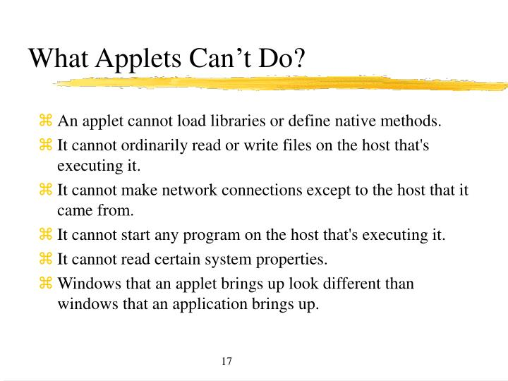 What Applets Can't Do?